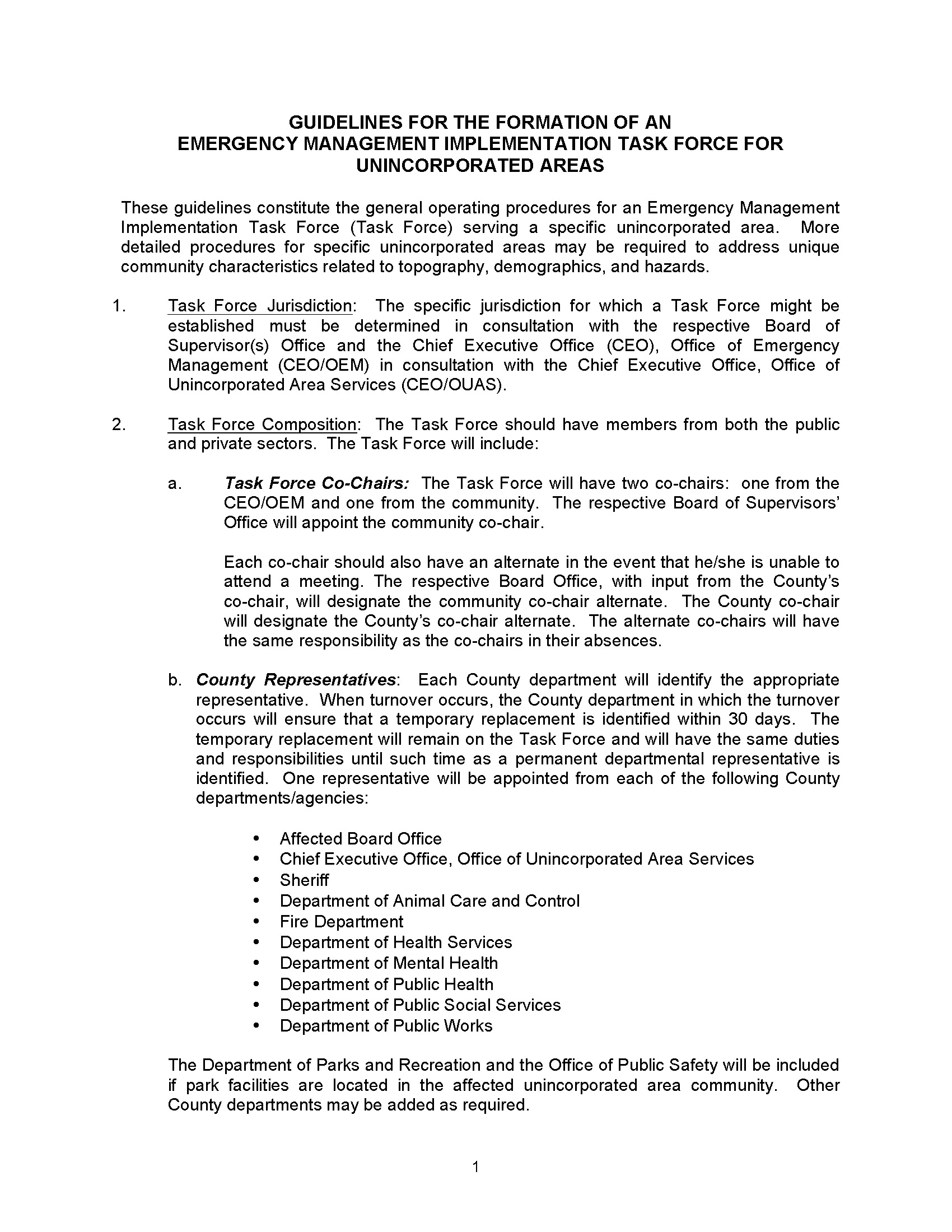 Guidelines for the Formation of an Emergency Implementation Task Force - Attachment Page 1