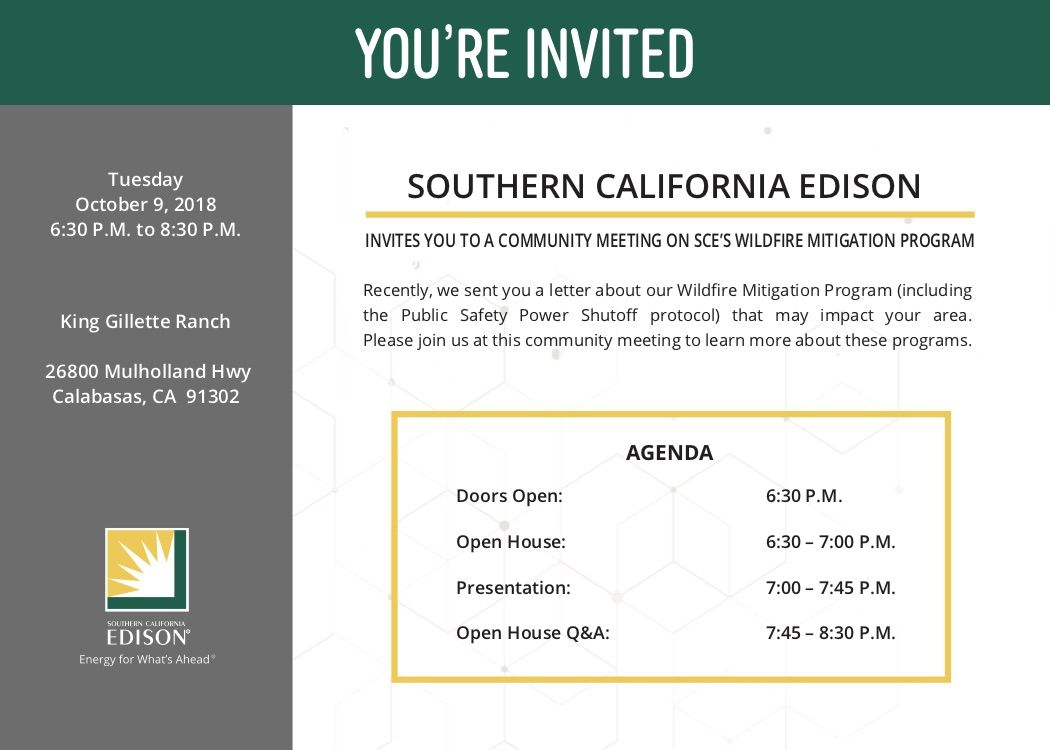 SCE Community Meeting Invite 10 9 18